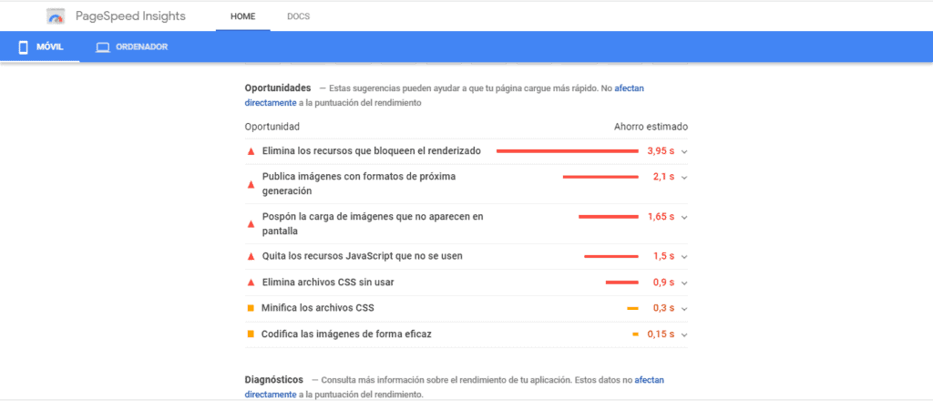 Google PageSpeed Insights oportunidades de mejora