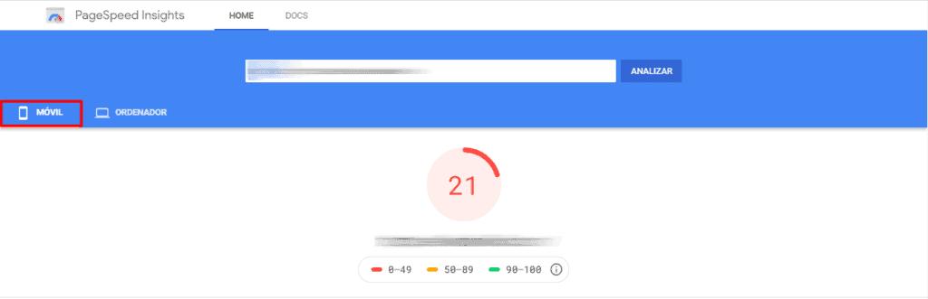 Test de velocidad web Google Movil