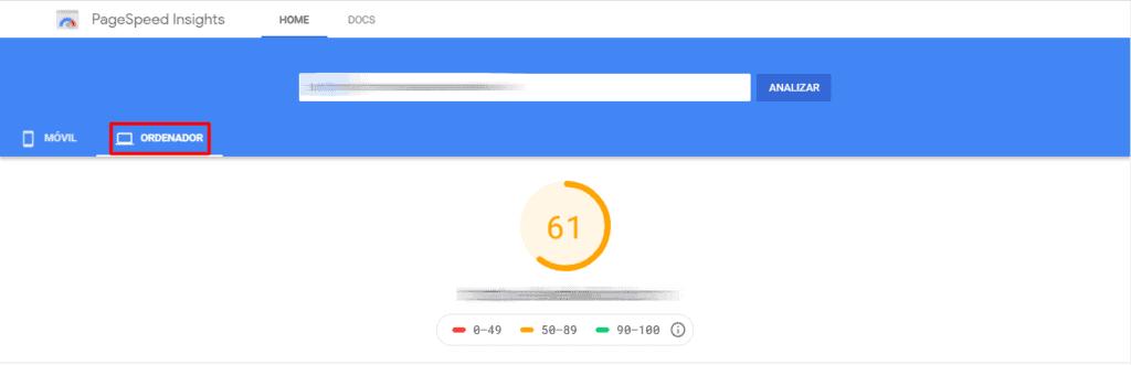 Test de velocidad web Google Ordenador