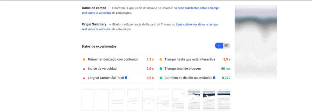 Pagespeed insights test resultado ordenador