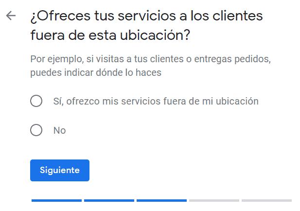 Servicios fuera ubicación en Google My Business