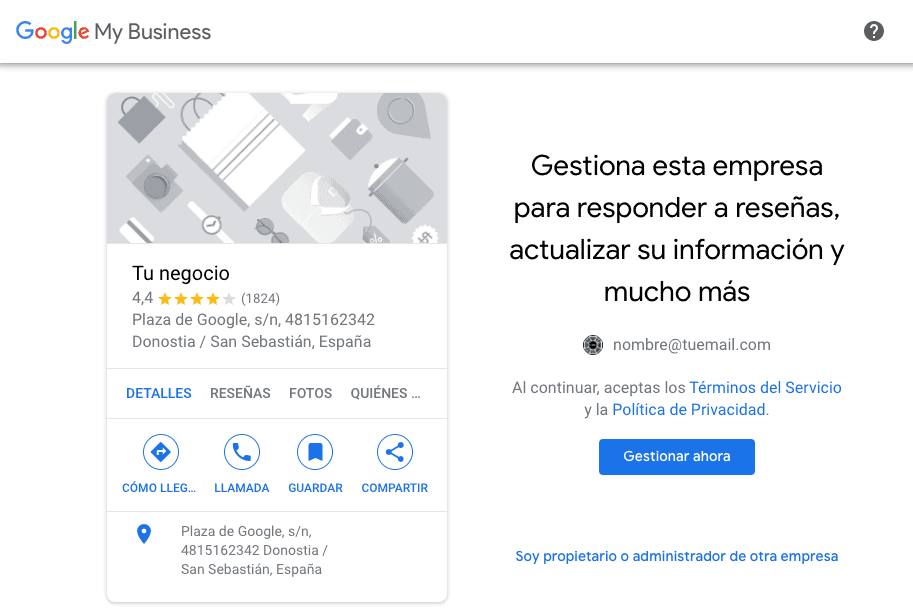 Gestiona esta empresa en Google Maps