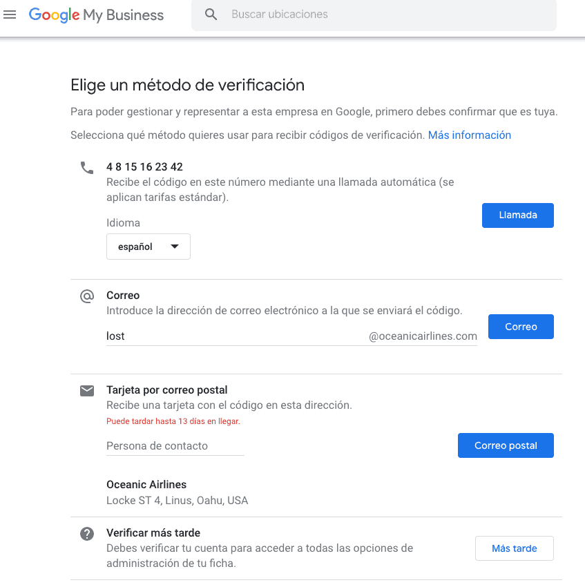 Verificación en Google My Business