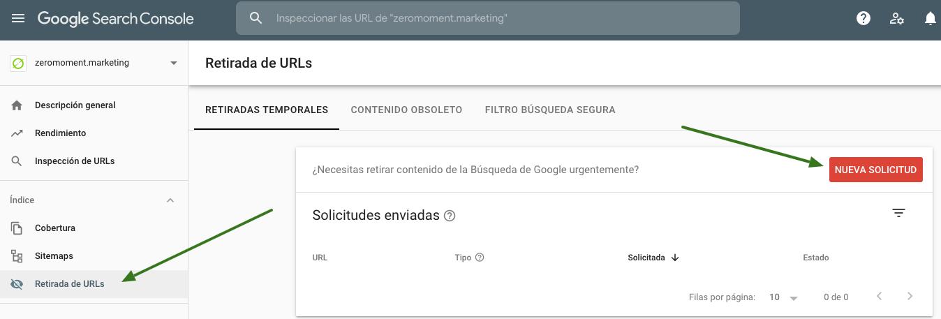 Retirada y desindexación temporal de URL en Google Search Console