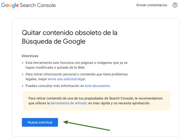 Retirar y desindexar contenido obsoleto de la búsqueda de Google en Search Console