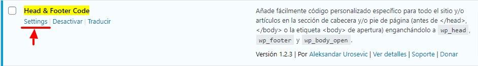 Business Manager de Facebook: WordPressBusiness Manager de Facebook: Plugin Header Footer Settings