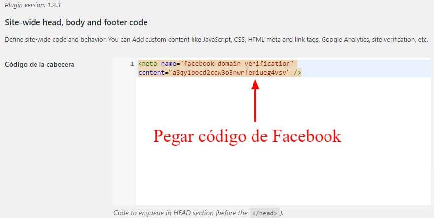 Business Manager de Facebook: WordPressBusiness Manager de Facebook: Plugin Header Footer Copy Paste