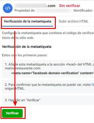 Business Manager de Facebook: WordPressBusiness Manager de Facebook: verificar