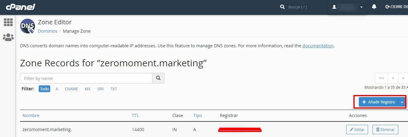 Business Manager de Facebook: añadir registro DNS