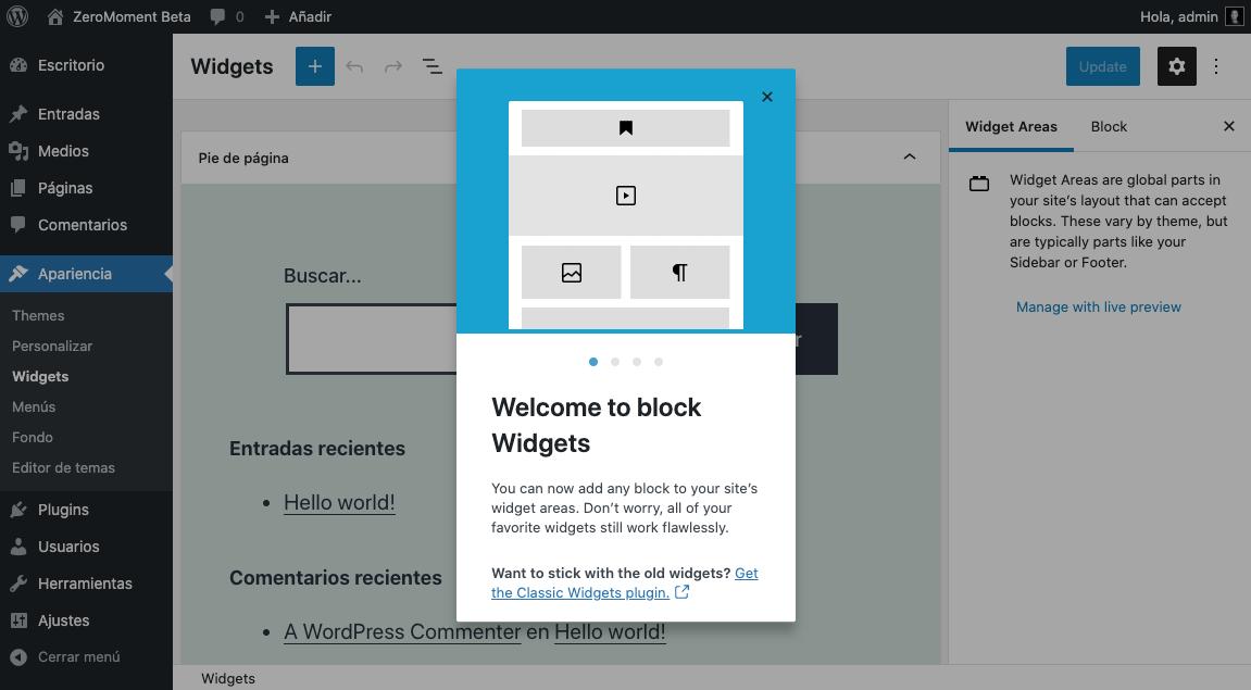 Bloques de Widgets en WordPress 5.8