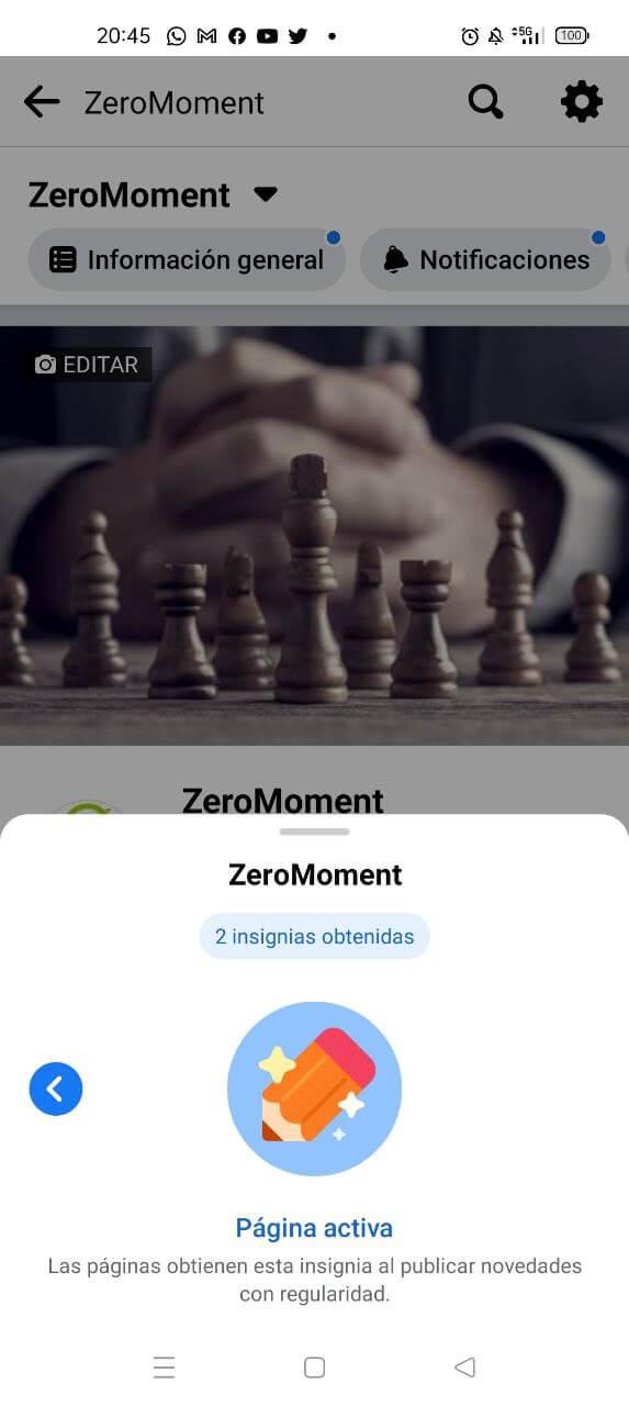 Insignias de Facebook 2021: página activa